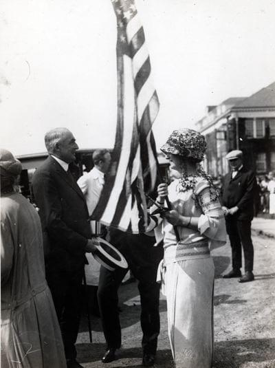 Warren G. Harding and Delaware College Student Elizabeth James, June 11, 1923.