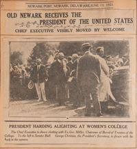 Newspaper report of Warren Hardin's visit to campus.
