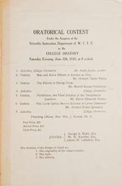 Program for Women's Christian Temperance Union Oratorical Contests on June 11, 1910.