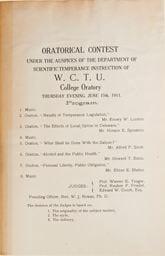 Program for Women's Christian Temperance Union Oratorical Contests on June 15, 1911.