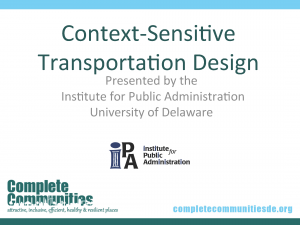 PowerPoint Title Slide for Context Sensitite Transportation Design presentation