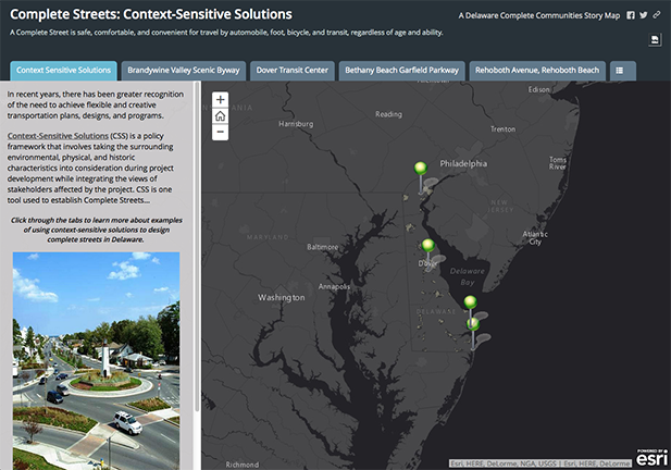 GIS Story Map displaying context-sensitive solutions