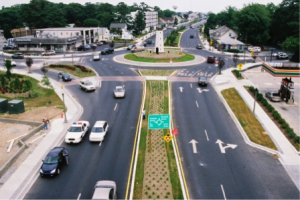 Photo of the Rehoboth Beach roundabout and surrounding streetscape