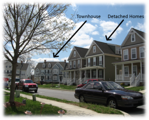 An example of residential mixed-use development with townhouses and detached homes.