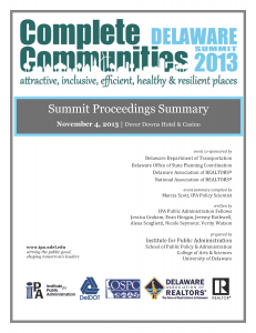 Cover of the Complete Communities Delaware Summit 2013 Summary report