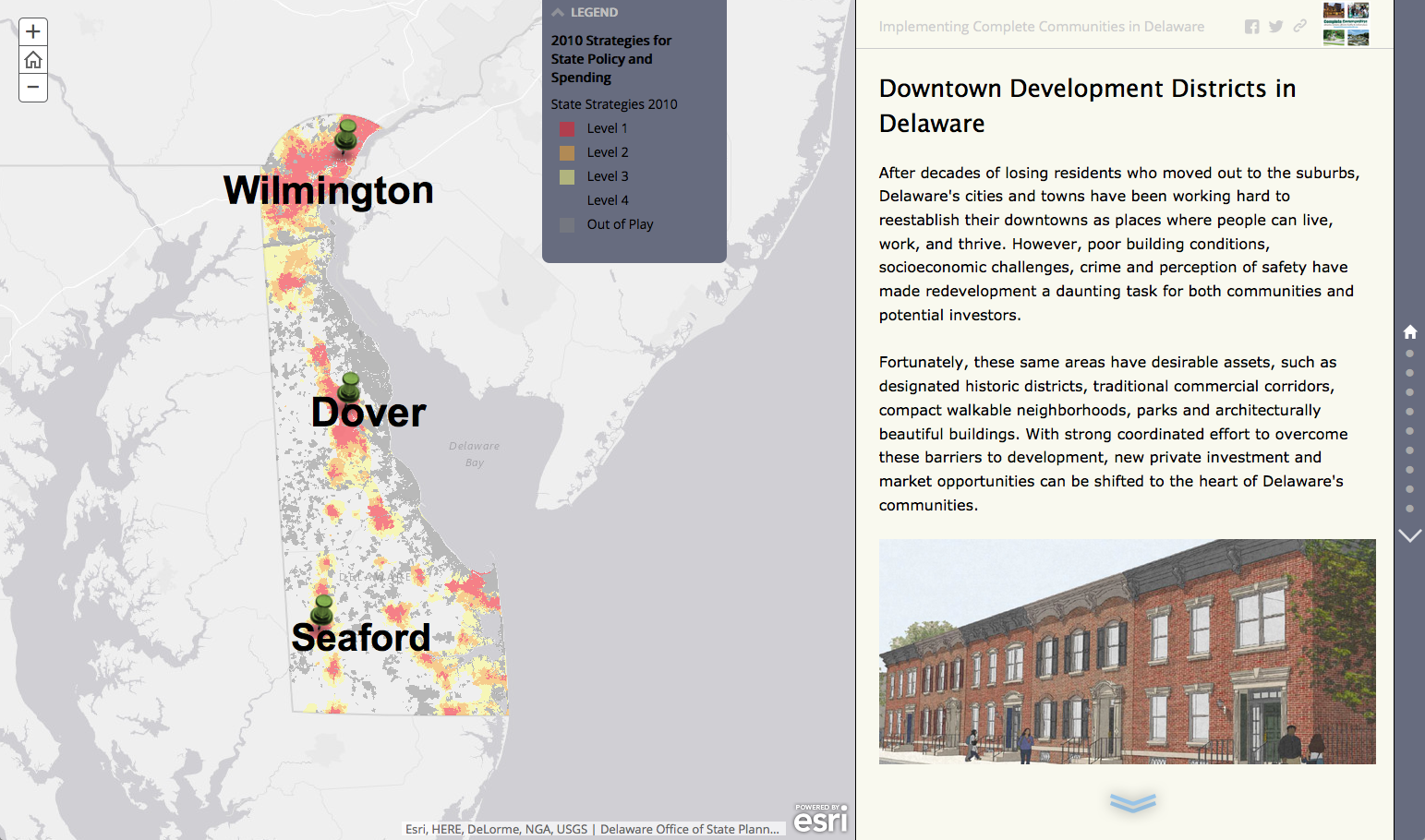 Screen shot of GIS Story Map featuring Downtown Development Districts
