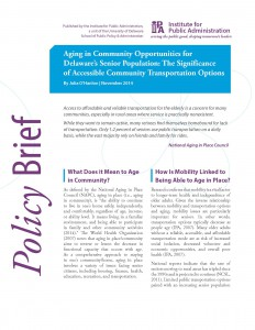 Image of front cover for Aging in Community Opportunities for Delaware's Senior Population issue brief