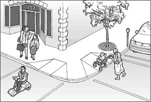 Cartoon of accessible streets and sidewalks.