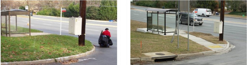 The before picture shows no sidewalk connecting to the bus stop and a person in a wheelchair riding in the road. The after picutre shows a sidewalk connected to the bus shelter.