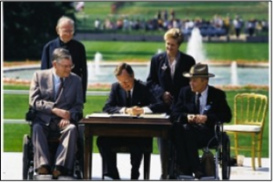 George H.W. Bush signs the Americans with Disabilities Act.