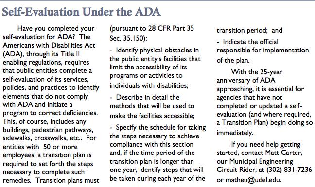 Self-evaluation under the ADA.