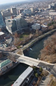 Aerial view of City of Wilmington near Brandywine River