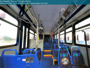Image of the inside of a DART bus.