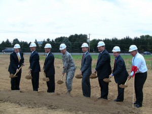 Groundbreaking at a development site with Governor Markell and representatives from the private sector, federal, and state agencies.