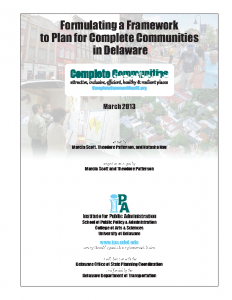 Cover of the report Formulating a Framework to Plan for Complete Communities in Delaware