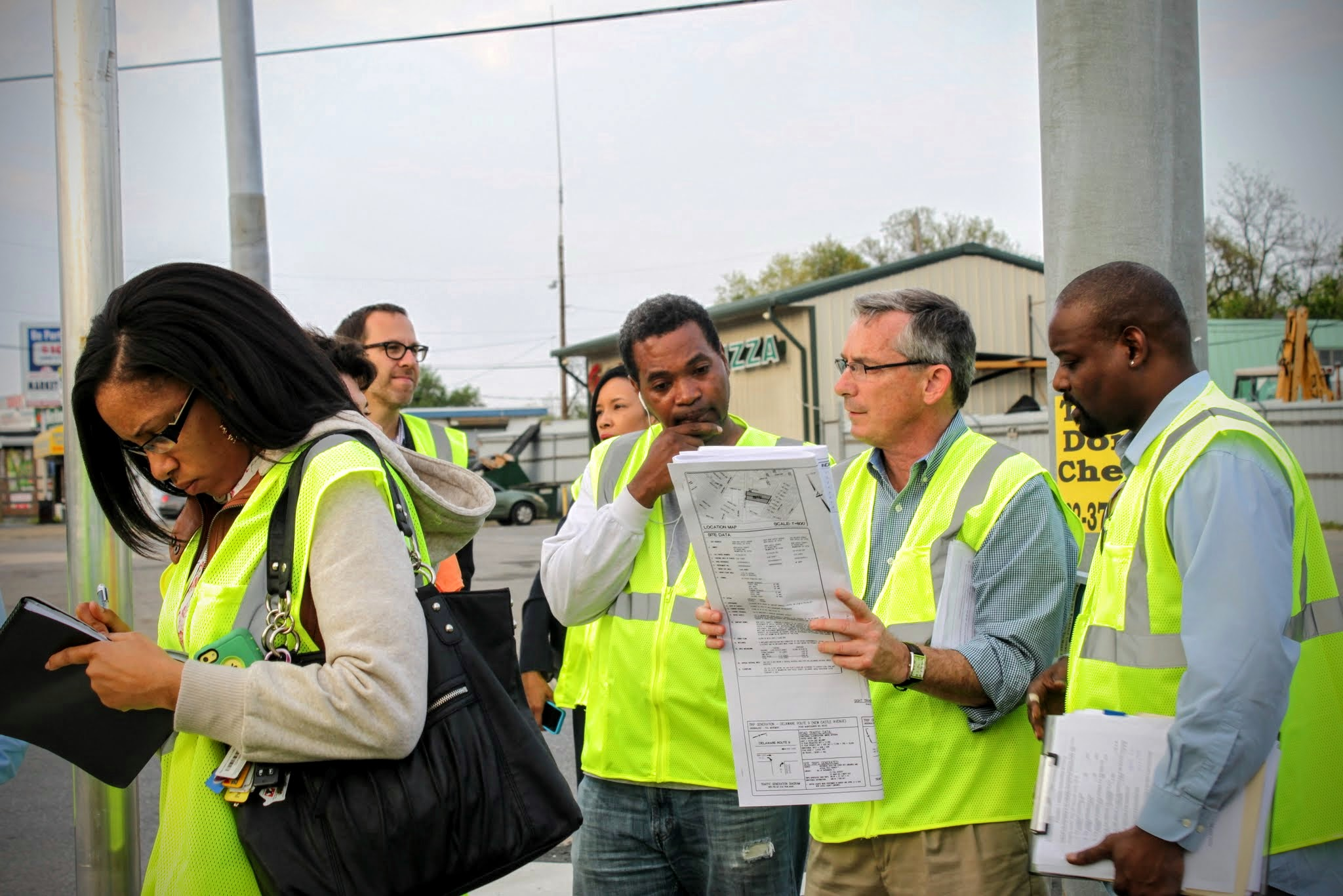 Participants survey Wilmington streets during WILMAPCO Walkable Workshop in May 2015