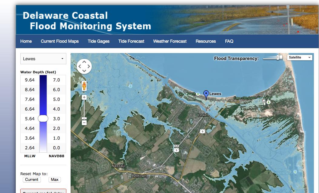 Image of Delaware Coastal Flood Monitoring System Map