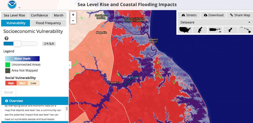 Image of NOAA SLR and Coastal Flooding Impacts Map