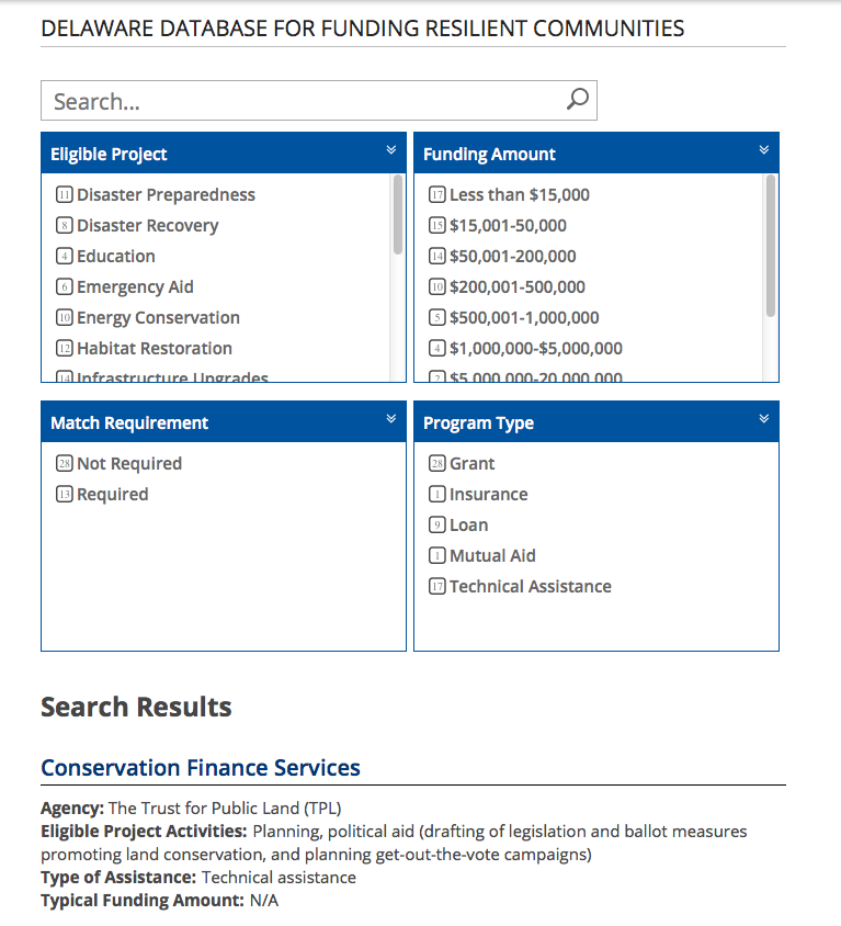 Screenshot of the Delaware Database for Funding Resilient Communities