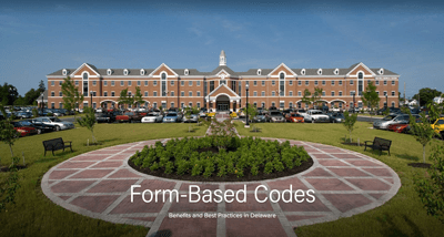 A screenshot of the Form-Based Codes Adobe Spark Page displaying an image of Eden Hill in the background, a master planned area designed to replicate the historic architechture of downtown Dover.