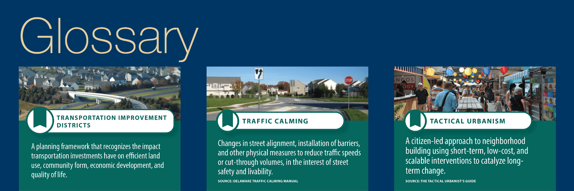 Trading cards feature terms and definitions related to planning for Complete Communities in Delaware.