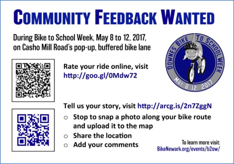This postcard given to participants of Bike-to-School week, requested feedback through a survey and crowdsourced GIS story map.