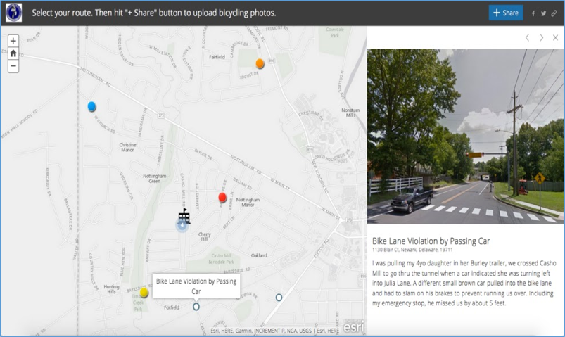 This screenshot of the crowdsourced GIS story map displays locations where users uploaded their photos and contributed feedback regarding the Casho Mill road bike lane.