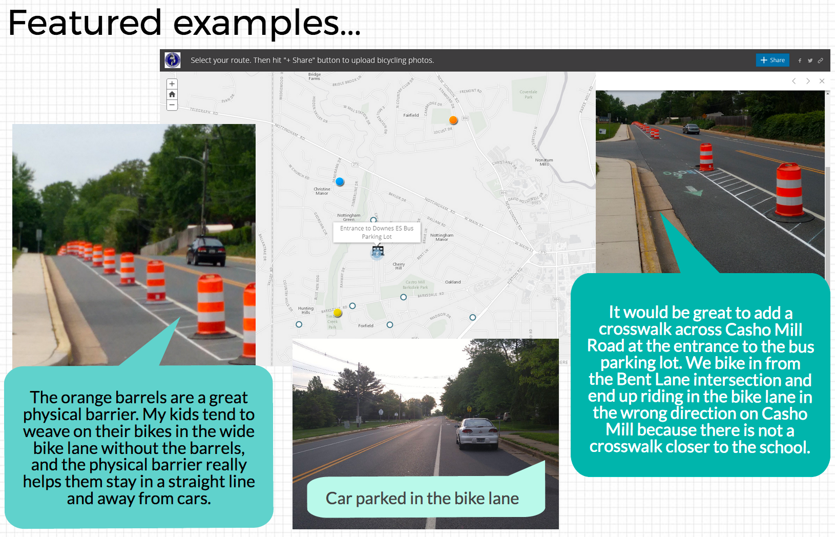 Screen capture of GIS Crowdsourcing Story Map Results: Casho Mill Road Pop-Up Bike Lane Demonstration Project Piktochart, showing examples of photos and comments provided by community members