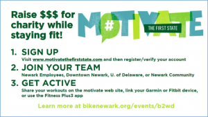 Advertisement for Motivate the First State, a campaign designed to inspire Delawareans to get active and make healthy activities count toward charity.