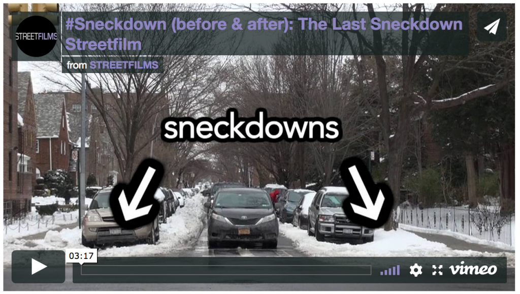 Screenshot of a video showing sneckdowns (areas that should be used for pedestrians but are currently in the snow.