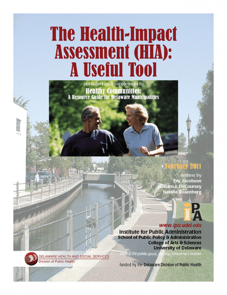 A PDF cover to the Delaware HSS report on HIA as a useful tool, featuring a smiling couple and a walkable, beautiful community.