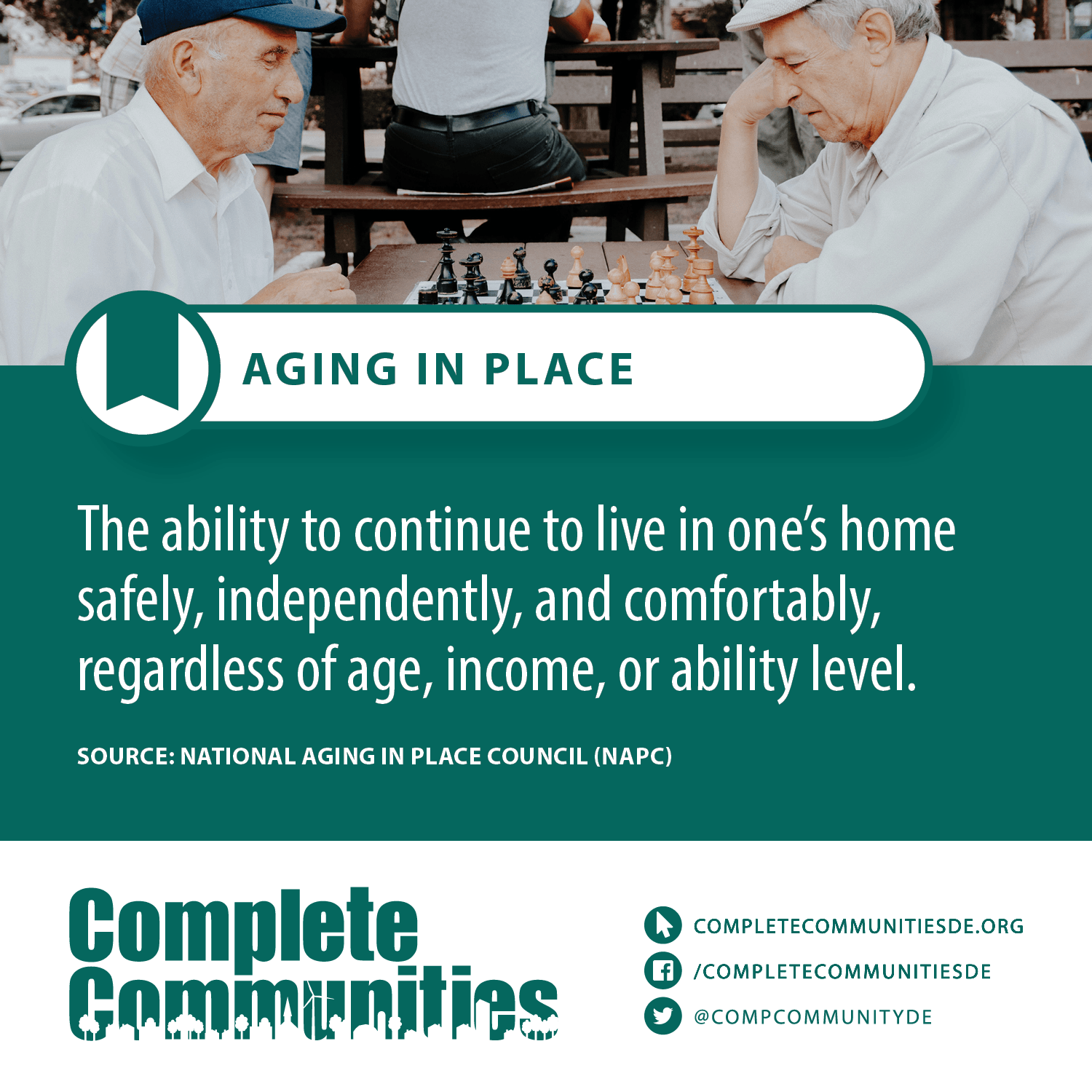 Aging in place: the ability to continue to live in one's home safely, independently, and comfortably, regardless of age, income, or ability level.