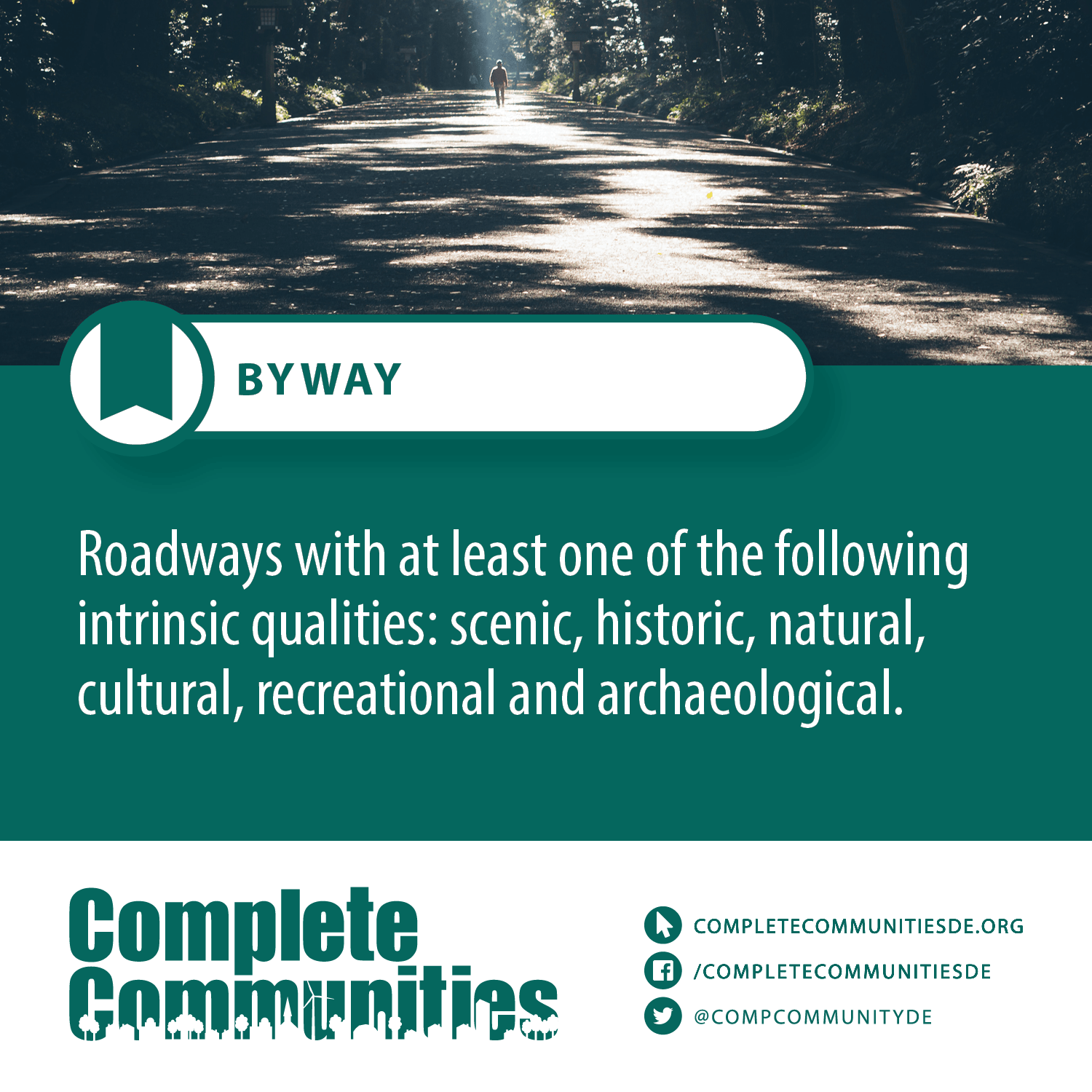 Byway: Roadways with at lease on of the following intrinsic qualities: scenic, historic, natural, cultural, recreational and achaeological.