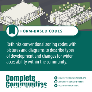 Form-based codes: rethinks convetional zoning codes with pictures and diagrams to describe types of development and changes for wider accessibility within the community.