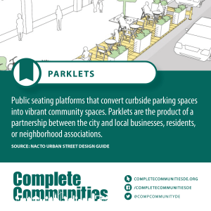 Parklet: Public seating platforms that converts curbside parking spaces into vibrant community spaces.