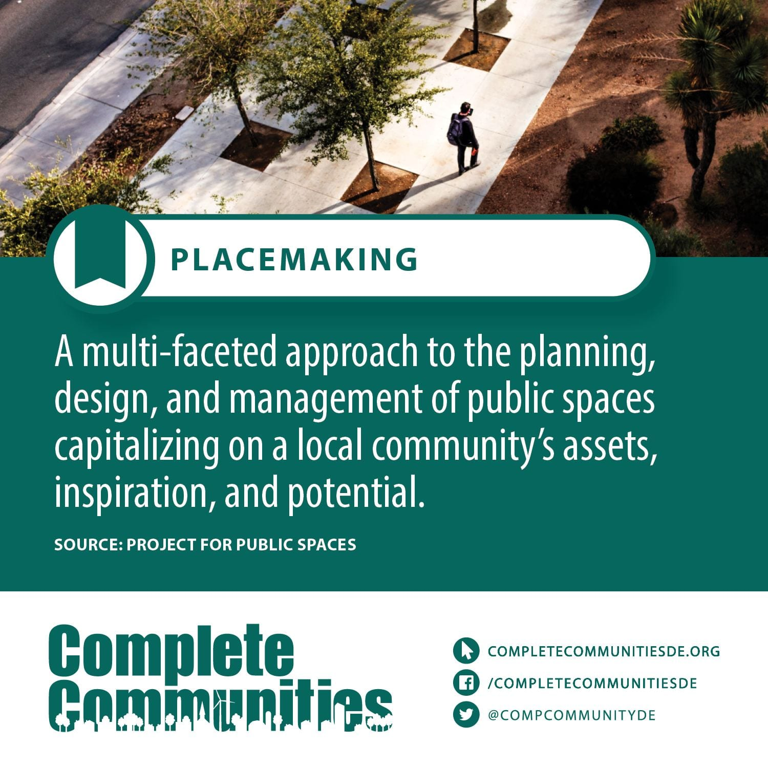 Placemaking: A multi-faceted approach in the planning, design, and management of public spaces capitalizing on a local community's assets, inspiration, and potential.