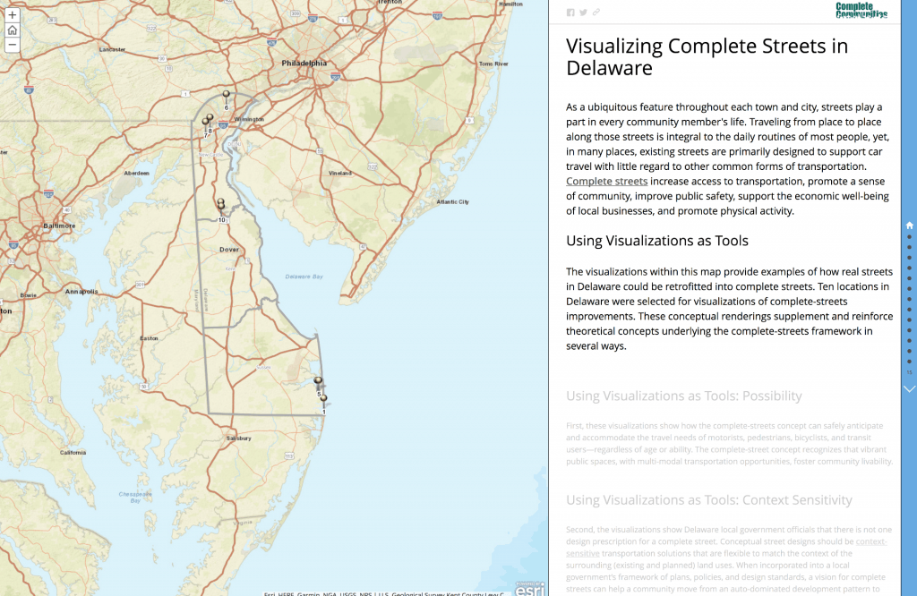Visualizing Complete Streets through a GIS Story Map