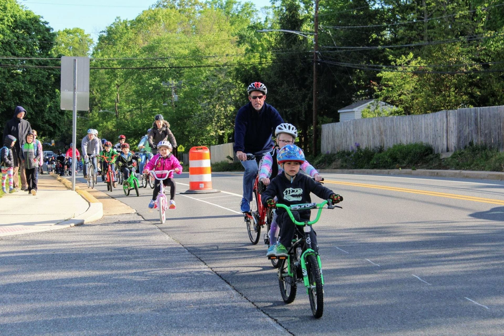 Image of Delaware children biking to school.