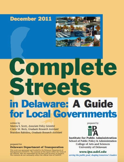 Image of the IPA publication, Complete Streets in Delaware: A Guide for Local Governments