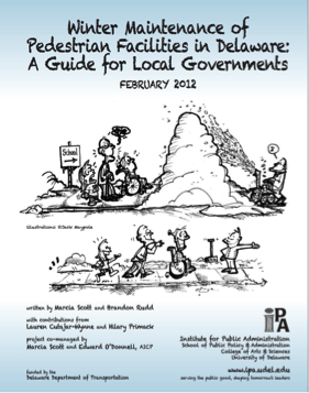 An image of an IPA publication titled Winter Maintenance of Pedestrian Facilities in Delaware: A Guide for Local Governments.