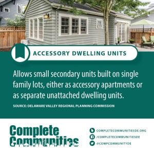 Accessory Dwelling Units: Allows small secondary units built on single family lots, either as accessory apartments of as seperate unattached dwelling units.