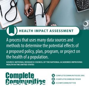 Health Impact Assessment: A process that uses many data sources and methods to determine the potential effects of a proposed policy, plan, program, or project on the health of a population.