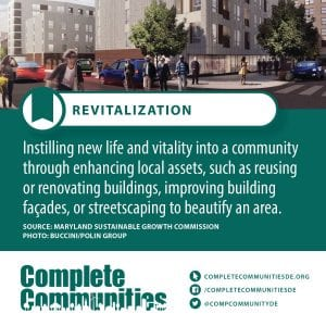 Revitalization: Instilling new life and vitality into a community through enhancing local assets, such as reusing or renovating buildings, improving building facades, or streetscaping to beautify an area.
