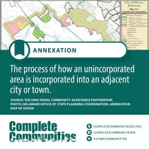 Annexation: The process of how an unincorporated area is incorporated into an adjacent city of town.