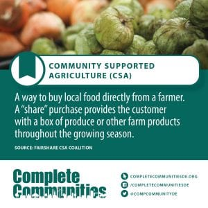 "Community Supported Agriculture (CSA): A way to buy local food directly from a farmer. A ""share"" purchase provides the customer with a box of produce or other farm products throughout the growing season."