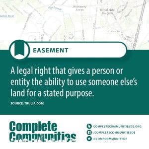 Easement: A legal right that gives a person or entity the ability to use someone else's land for a stated purpose.
