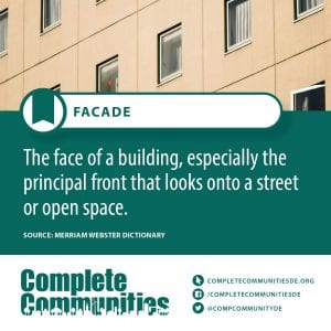 Facade: The face of a building, especially the principal front that looks onto a street or open space.