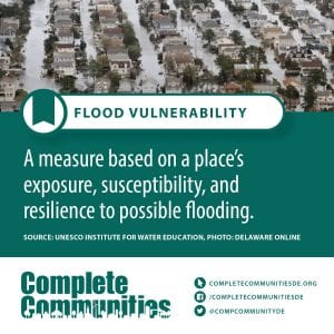 Flood Vulnerability: A measure based on a place's exposure, susceptibility, and resilence to possible flooding.