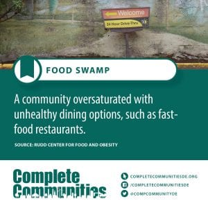 Food Swamp: A community oversaturated with unhealthy dining options, such as fast-food restaurants.