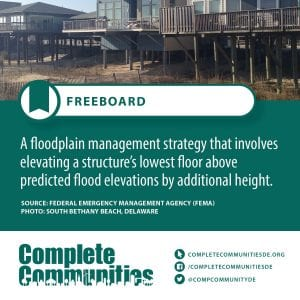 Freeboard: A floodplain management strategy that involves elevating a structure's lowerst floor above predicted flood elevations by additional height.